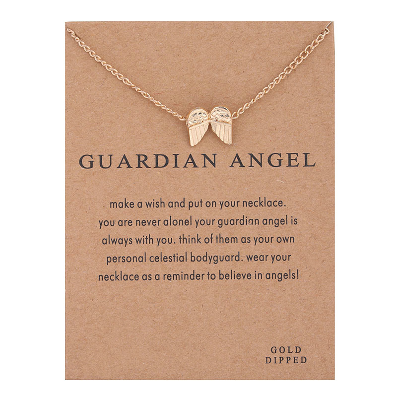 Hot Sale guardian angel, angel wings necklace gold-color Pendant necklace Clavicle Chains Statement Necklace Women Jewelry