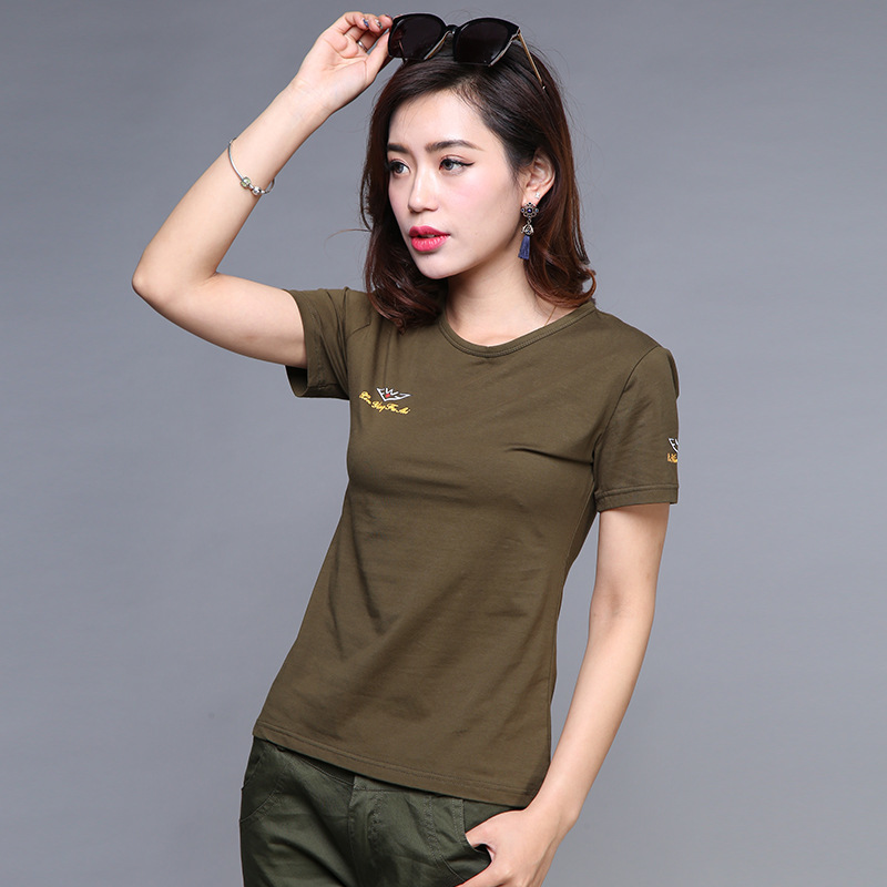Comfortable Pure Cotton Short Sleeve T-shirt Women Round Neck Tees Tops Army Green Tactical Undershirt Clothes Bottoming Shirt