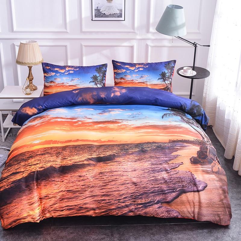 Boniu Romantic Beach Island Sunset Bedding Set For Lover Wedding Decor 3D Sunset Bamboo Printed Duvet Cover Set With Pillowcase