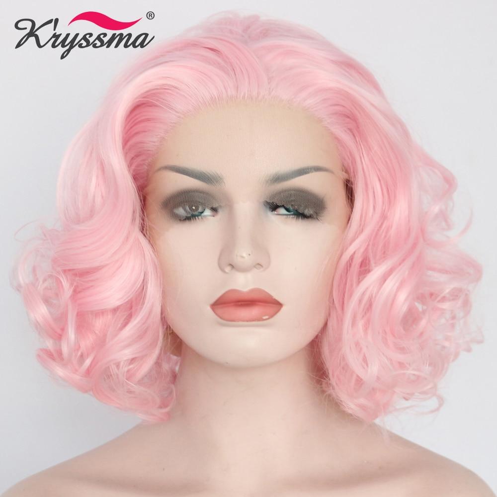 Bébé rose perruque courte synthétique dentelle avant perruque ondulée rose perruques pour les femmes partie libre Bob perruques pour fête naturel délié chaleur OK