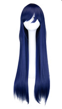 QQXCAIW Long Straight Cosplay Navy Mixed Blue 80 Cm Synthetic Hair Wigs
