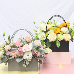 Image 4 - PVC Bouquet Flower gift Boxes Round Living Vases Florist Box Flower Plant Boxes Gift flower box  gift bags with handles