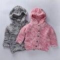 Crianças Jaquetas de inverno 2016 Meninas Do Bebê roupas Das Meninas kintted Cardigan sweater completo manga Bobo choses Crianças meninos Outerwear
