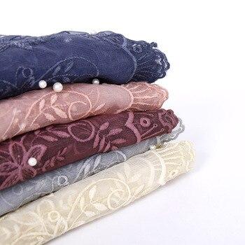 Plain Colour Lace Edges Pearl Scarf Muslim Hijabs Wrap Long Shawl Women Cotton Headscarf Islamic Soft Headband Turban 180X90cm fashionable women lace edges scarves islamic head scarf chiffon muslim hijabs turban plain long shawl headscarf stole 180 75cm