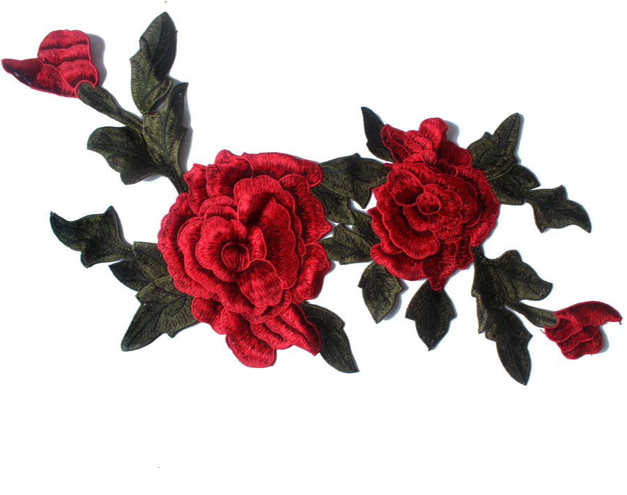 Embroidered red rose patches