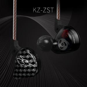 Image 2 - KZ ZST DD + BA наушники с тяжелыми басами, гарнитура, HiFi наушники, четыре ядра, управление, сменный кабель ZSNpro ZSA ZS10 ES4 EDX