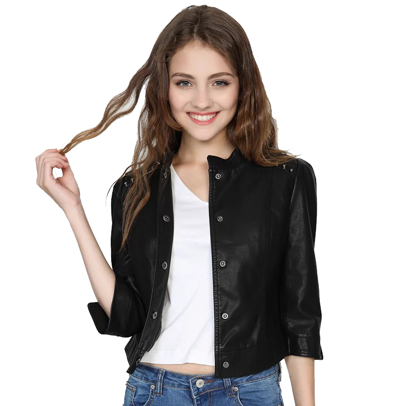 Rivet Shoulder Jackets Women 2019 Spring-Autumn Short Faux   Leather   Jacket Ladies Chic 3/4 Sleeve Outfits Girls Slim Black Coats