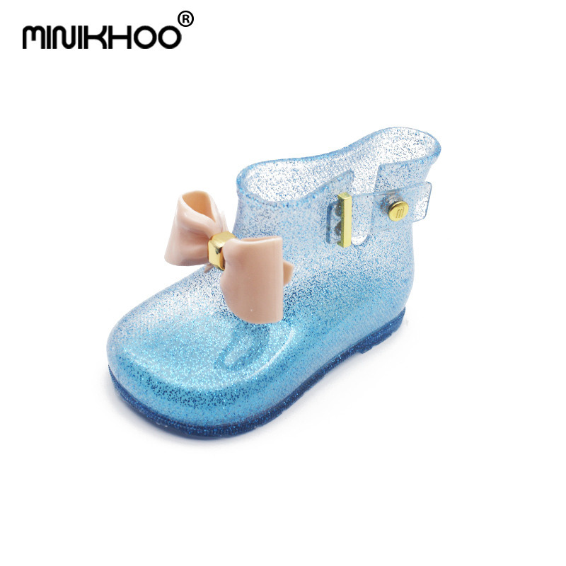 Mini Melissa 2018 New Children Bow Boots Girls Jelly Water Boots Princess Shoes Anti-Skid Soft Boots Melissa Girls 4Color Shoes
