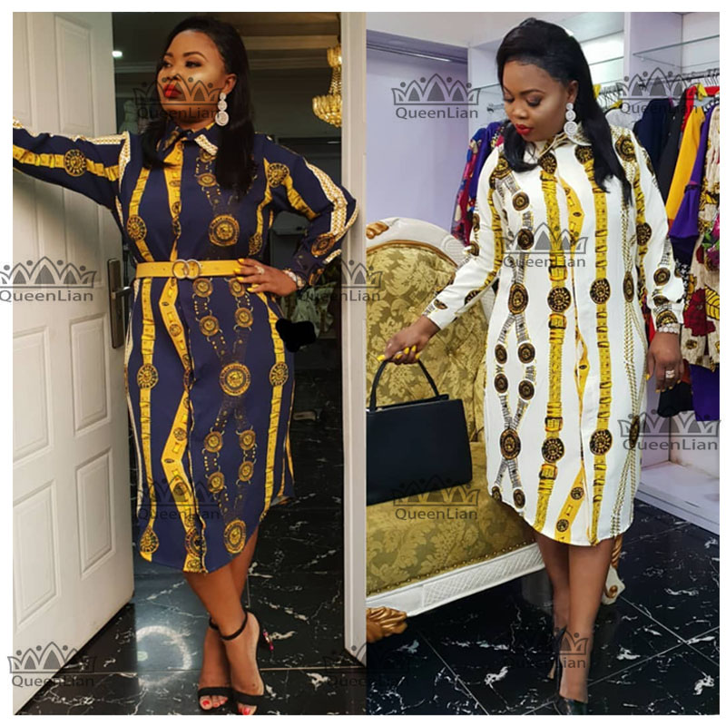 Size L-3XL  2019 African Dress Print Shirt-Collar Skirt  Big Elastic For Women (ZC07#)