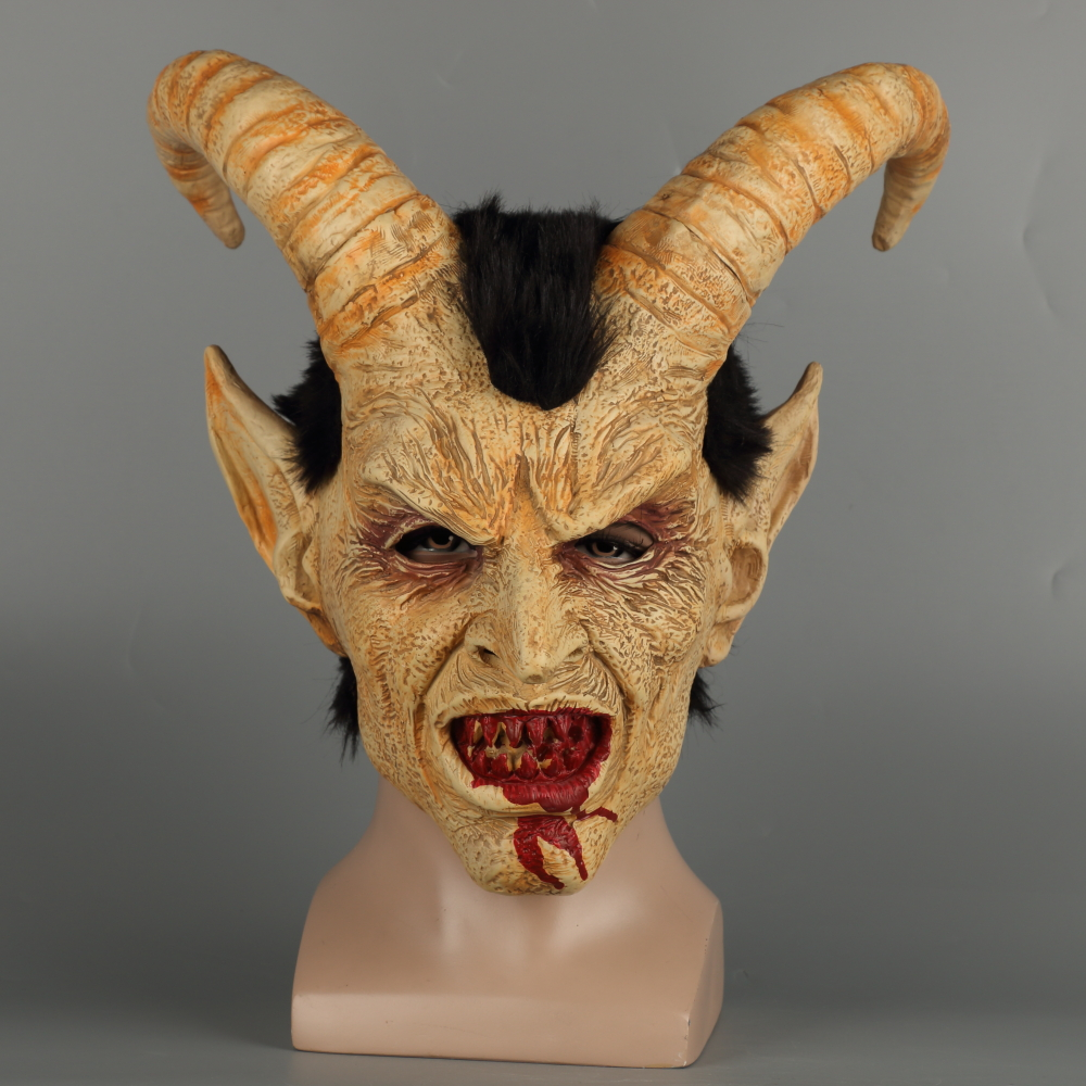 Scary mask demon devil Lucifer Horn latex Masks Halloween movie cosplay decoration Festival Party Supply props Adults Horrible (30)