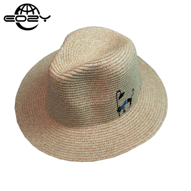 51cbfd96ea1 Cartoon Cat Striped Unisex Straw Hat For Women And Men Summer Beach Visor  Caps Panama Hats Sunhat 4 Colors