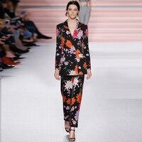 Модные дизайнерские Для женщин двубортный цветочным принтом slim fit Формальные работы Блейзер + взлетно посадочной полосы эластичный wiast длин