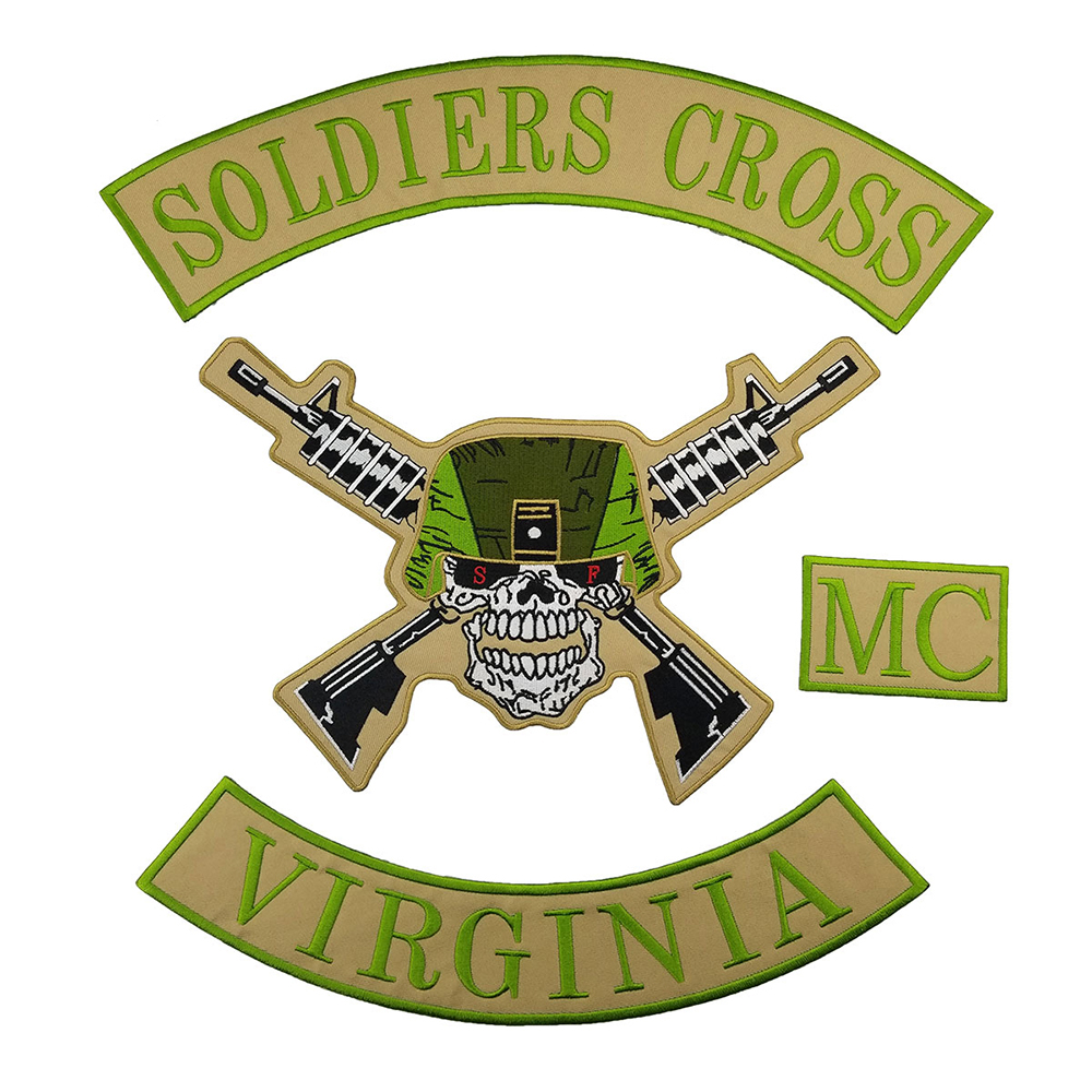 SOLDIERS CROSS VIRGINIA MC PATCH Embroidered Handmade Stickers Clothes Biker Patch For Jacket Iron Patches For