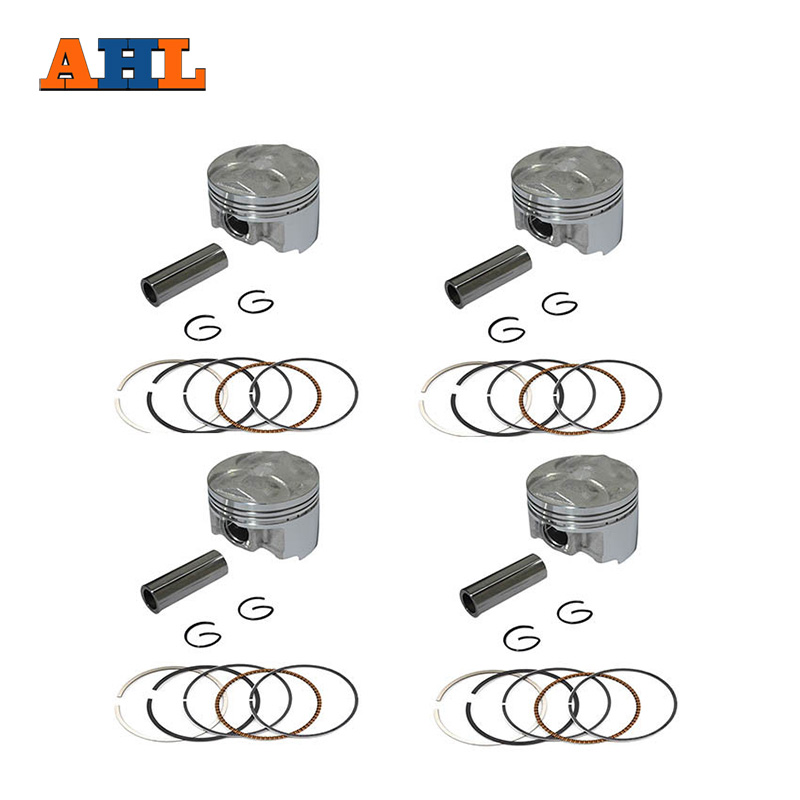 AHL 4 Sets STD +25 +50 Motorcycle Piston Kit For Yamaha FZ400 FZ 400 4YR Engine Parts Piston Rings Pin Clip Accessories chainsaw piston assy with rings needle bearing fit partner 350 craftsman poulan sm4018 220 260 pp220 husqvarna replacement parts
