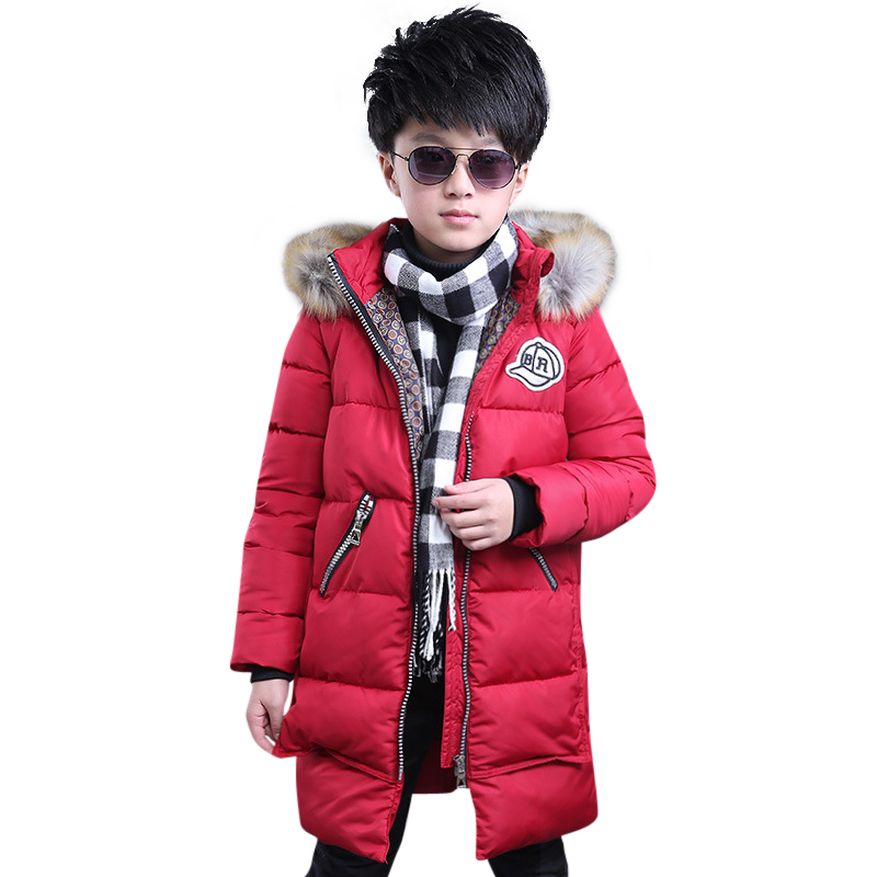 Winter Boys Jacket Parka Kids Fur Collar Coats 2018 Teenager Boys Cotton Coats Children Kids Down Jacket Hooded Kids Clothes boys winter parka jacket kids fur collar coats for teenager boys cotton outwear school children kids down jacket hooded clothes