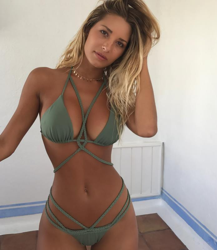 AliExpress Explosion Sources Tie Weave Buckle WISH Halter Bikini Swim  Summer 10 Colors victoria secret women  Solid 2
