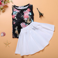 Baby tank tops summer sleeveless t-shirt top and floral leopard black and white fringe skirt set cute toddler girl clothes set