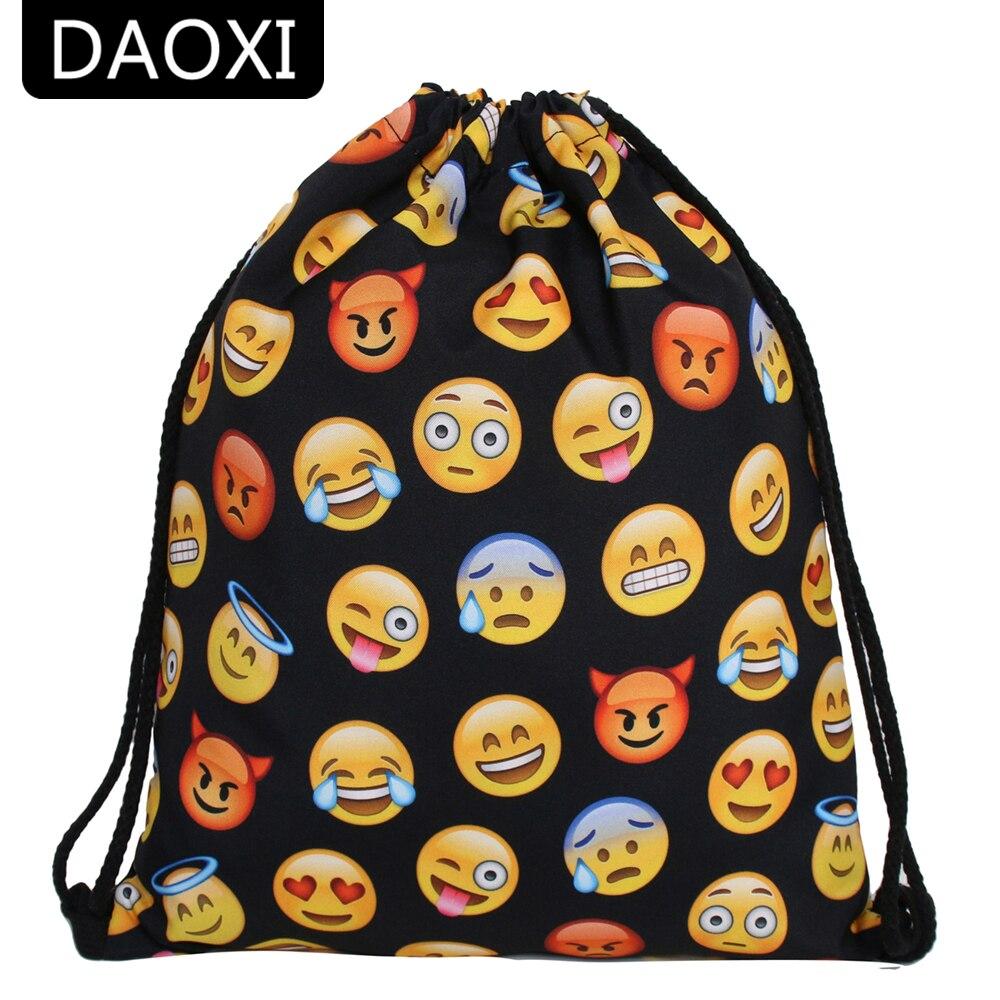 DAOXI New Fashion Women 3D Printing Emoji Bags Black Drawstring Bag For Men Women DXSKD-60