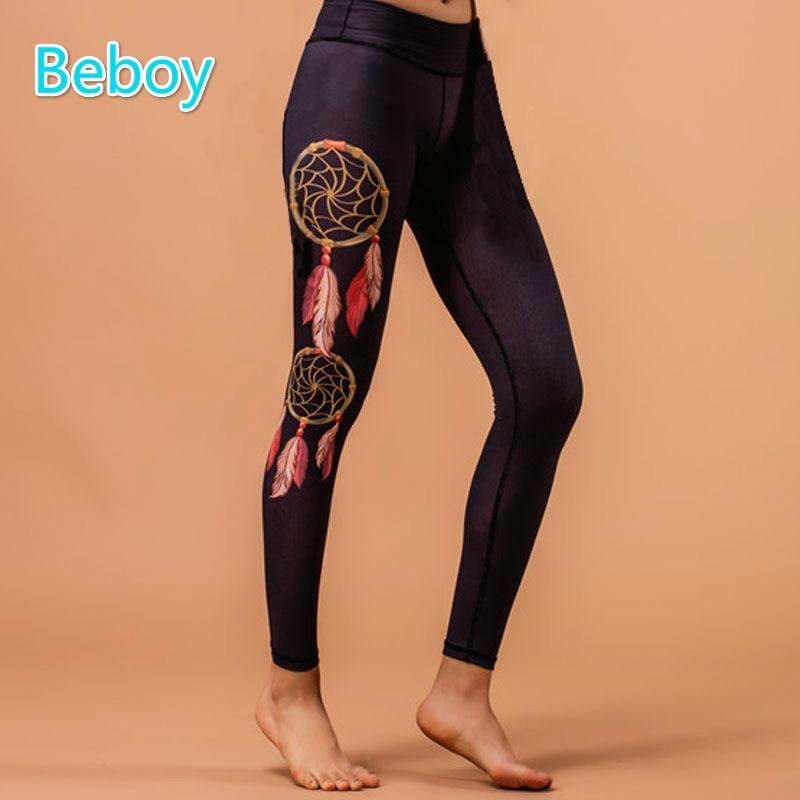 Prix pour Beboy haute qualité 3d imprimé gym yoga pantalon leggings femmes de course de compression collants extensible sportif sport fitness leggings