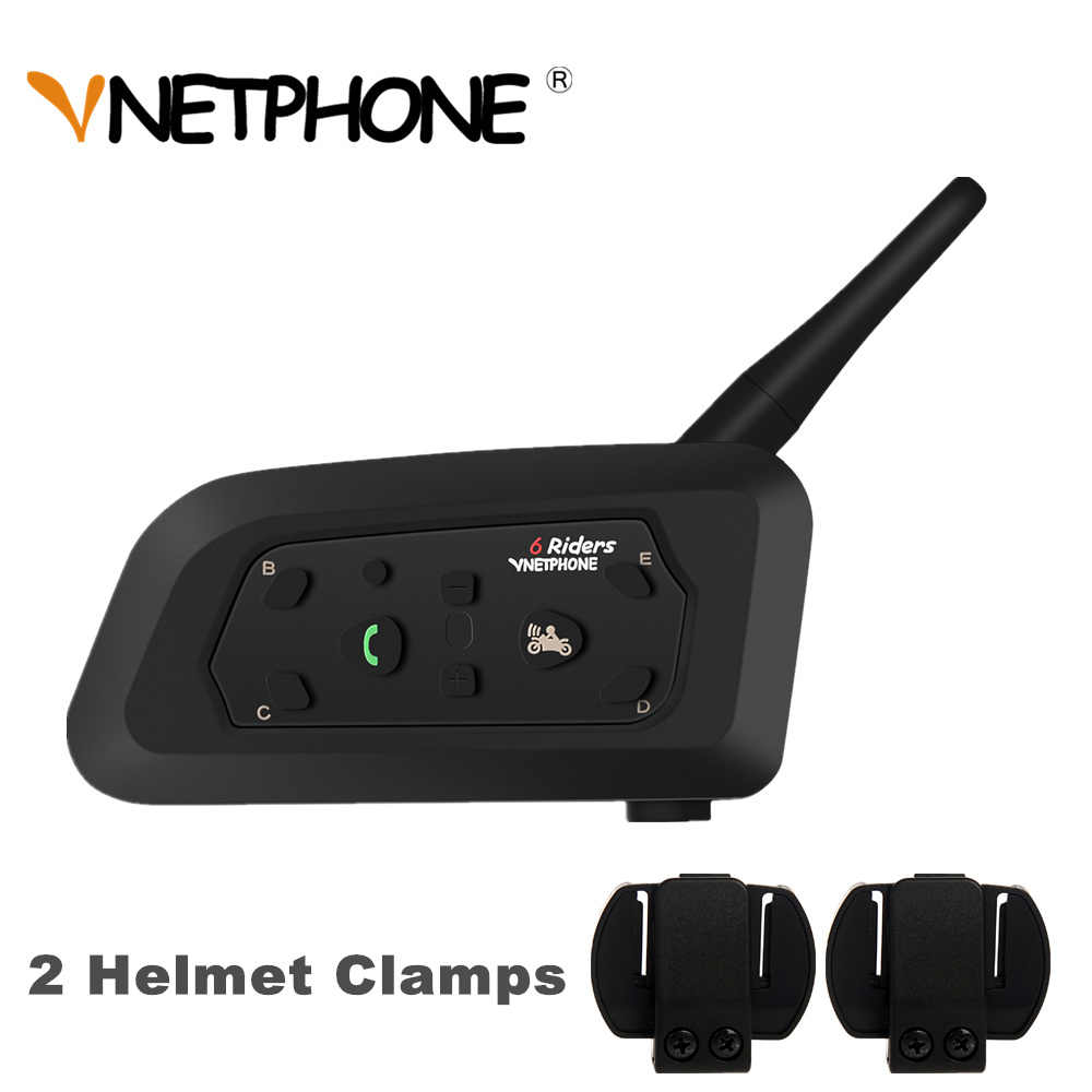 2019 VNETPHONE V6 Intercomunicador 850mAh Moto Bluetooth casque interphone Heaedset + 2 pièces universel casque pinces