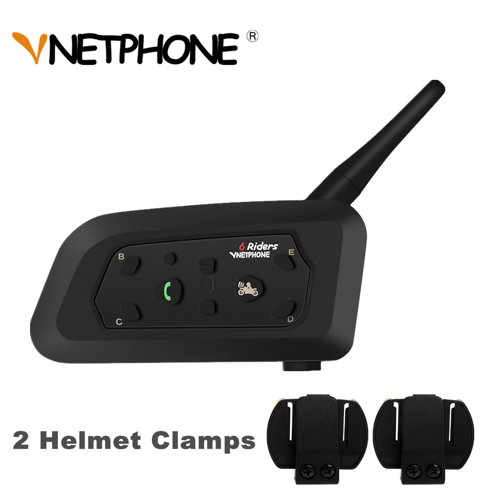 2019 VNETPHONE V6 Intercomunicador 850mAh Moto Bluetooth Helmet Intercom Heaedset + 2pcs Universal Helmet Clamps