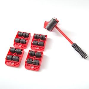 Image 2 - مجموعة أدوات يدوية مجموعة نقل الأثاث 4 بكرة المحرك + 1 عجلة بار الأثاث رافع النقل المنزلية أداة اليد مجموعة