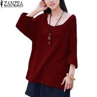 M 5XL ZANZEA Women O Neck Long Sleeve Loose Casual Tops Shirt Blouse Fashion Ladies Cotton