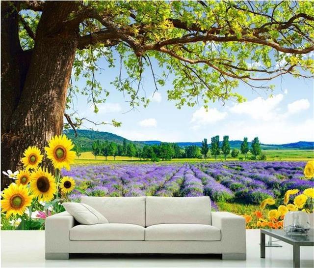 Wallpaper Foto Kustom Mural Lavender Pohon Pemandangan Lukisan Ruang Tamu Sofa Tv Latar