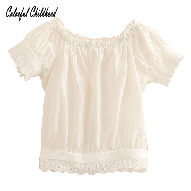 c8054d8add6e3a Pretty lace shirt girls short sleeve blouses cotton tops children clothes  toddler girls white blouse 2-10Yrs