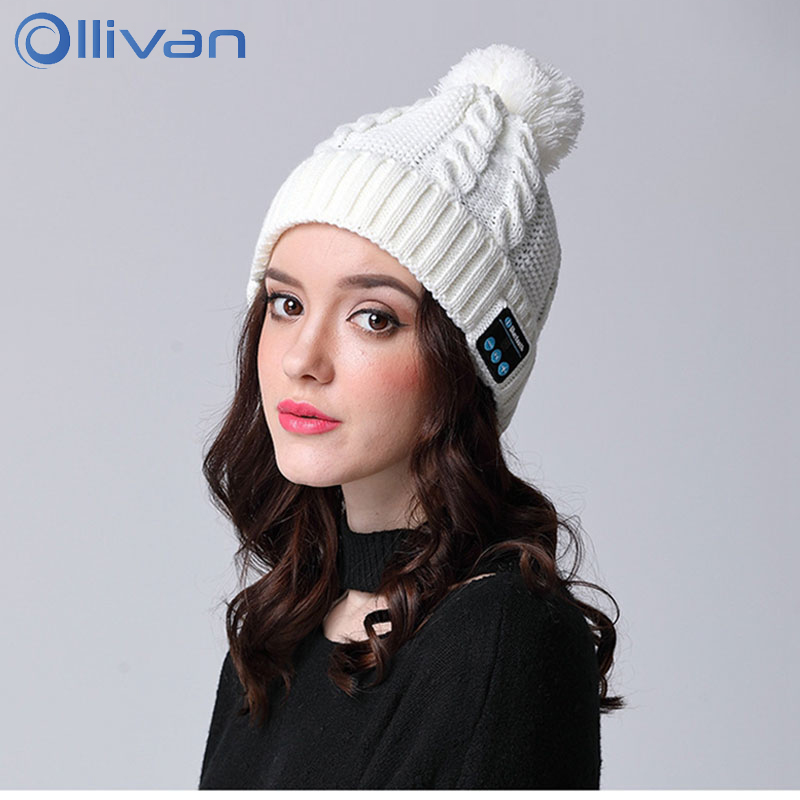 Ollivan Q5 Knitted Cap Bluetooth Headset Winter Warm Wireless Heardphone Soft Beanie Hat Auriculares With Mic Handsfree Earphone wireless bluetooth music beanie cap stereo headset to answer the call of hat speaker mic knitted cap