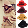 Vintage Women Fedora Trilby Wool Belt Cap Warm Winter Wide Brim Cowboy Lady Sun Beach Hat Round Flat Top Straw Fedora B2029c