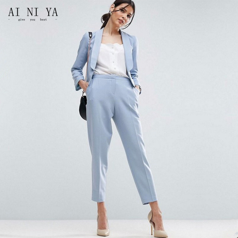 Women Pant Suits Light Sky Blue Work Wear for Ladies Pant Suits Women Business Formal Office Uniform Trouser Suit