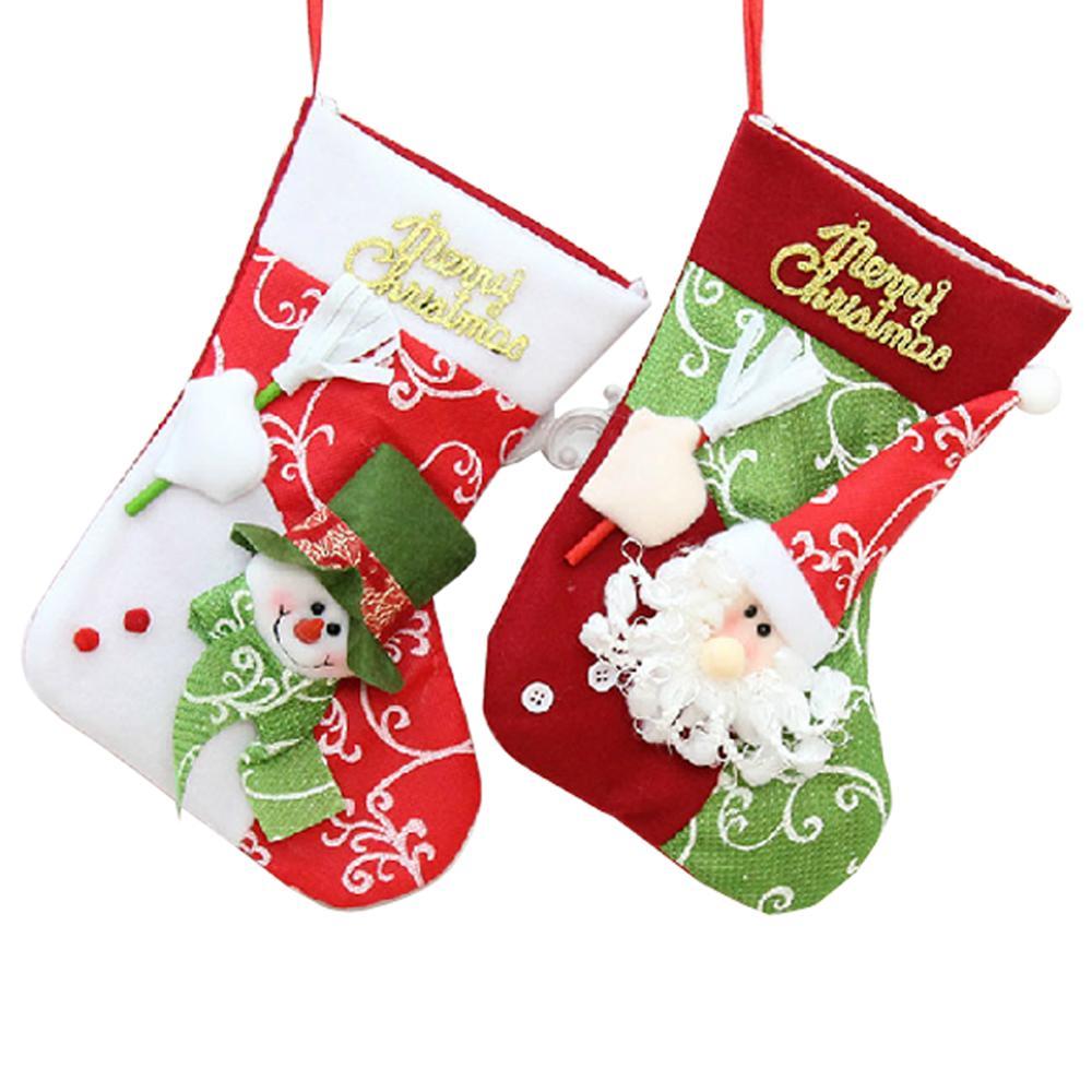 Fairy christmas ornaments - New 2 Cute Style Cartoon Christmas Tree Santa Socks Hanging Ornaments Decoration Fairy Tale Christmas Festival