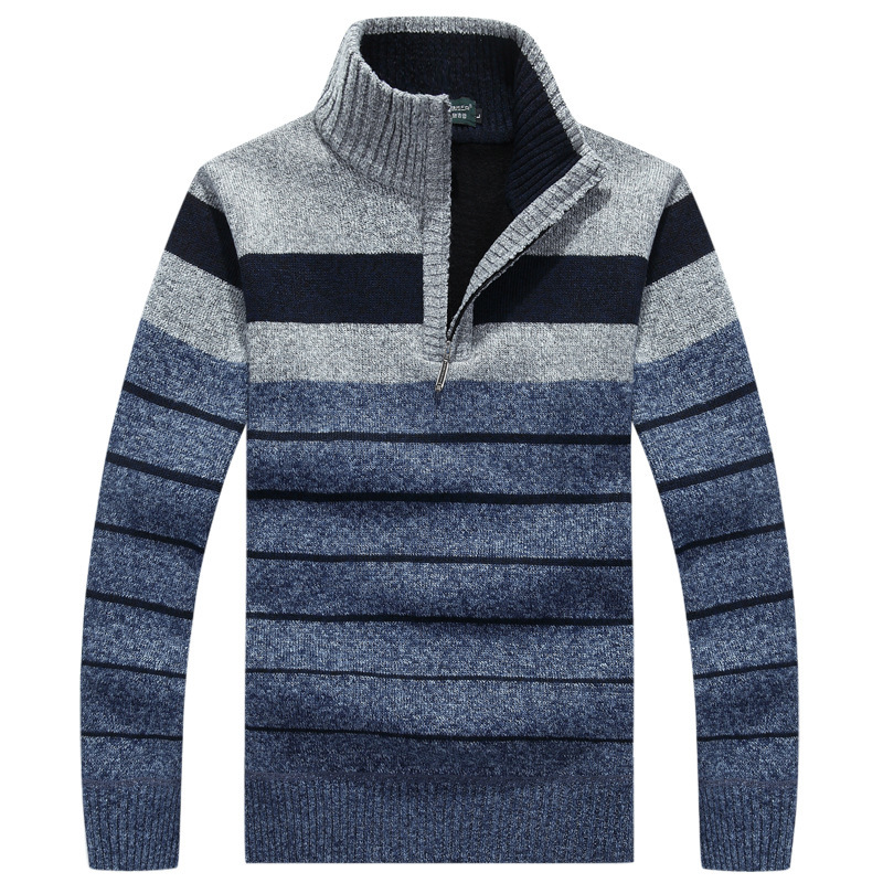 Autumn Mens Sweaters Winter Striped Casual Stand Collar Pullovers for Men Clothing 55
