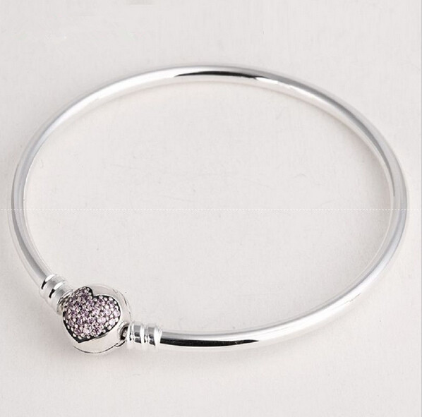 Authentic 925 Sterling Silver Love Heart Bangles For Women with Pink CZ Pave Clasp Fit European Charms Beads DIY Fine Jewelry