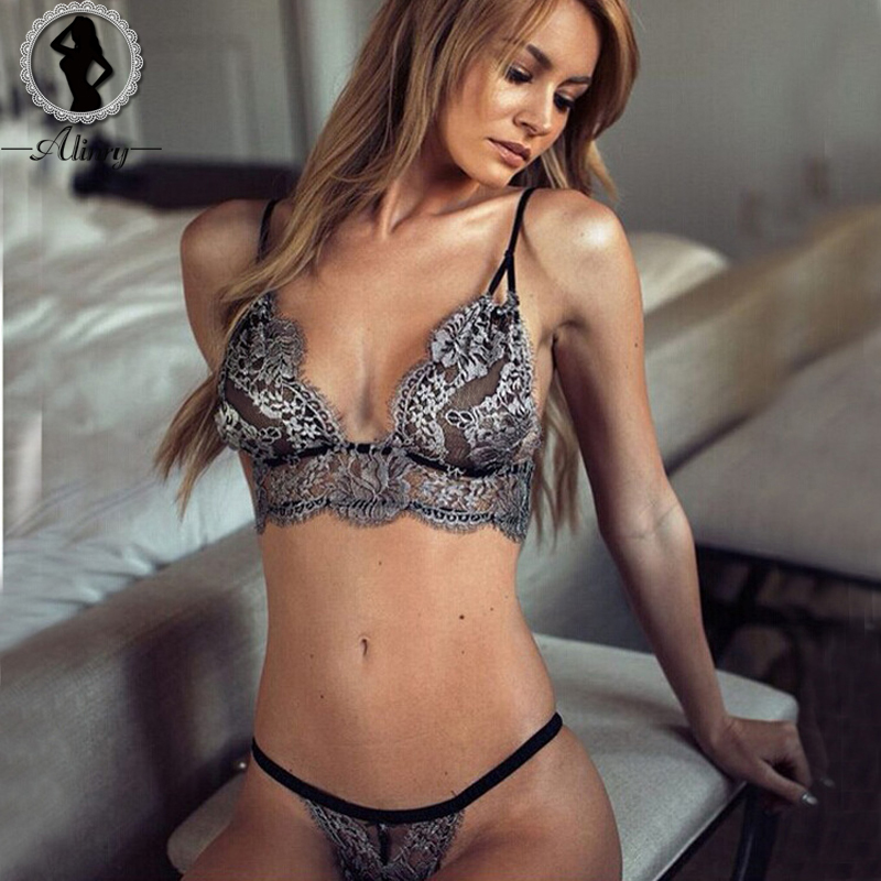 ALINRY New sexy   bras   women deep-V silver floral lace   bra  +  brief     set   mesh transparent brasier mujer plus size bralette underwear