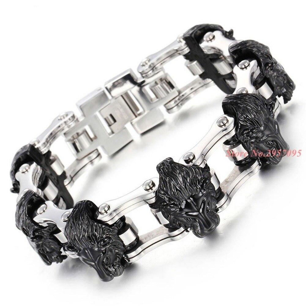 Argent or noir Lion tête conception vélo lien chaînes Bracelet motard hommes 316L acier inoxydable Bracelet bracelets homme Bracelet - 3