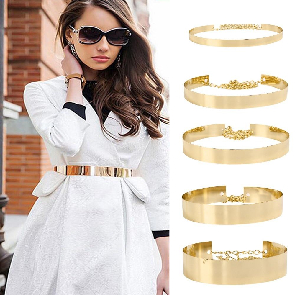 Fashion Western Vintage Belt Sequined Metal Belt For Women Ladies Mirror Decoration Dress Belt Wild Gold Dress Chain Belts