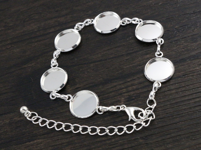 New High Quality 2pcs 12mm Silver Plated Six 12mm Cameo Bangle Base Bracelet Blank Findings Setting Cabochon Cameo L1-17