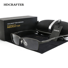 HDCRAFTER Urltra Light Aluminum Magnesium Frame Glasses frames Men Prescription Optical Spectacle Eyewear Frame With Clear lens