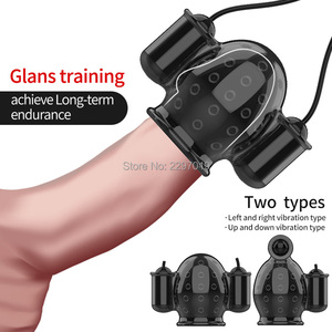 Sex Toy For Men Rechargeable Penis Massager With 2 Caps Male Masturbator Delay Lasting Trainer Sex Products Men's Glans Vibrator(China)