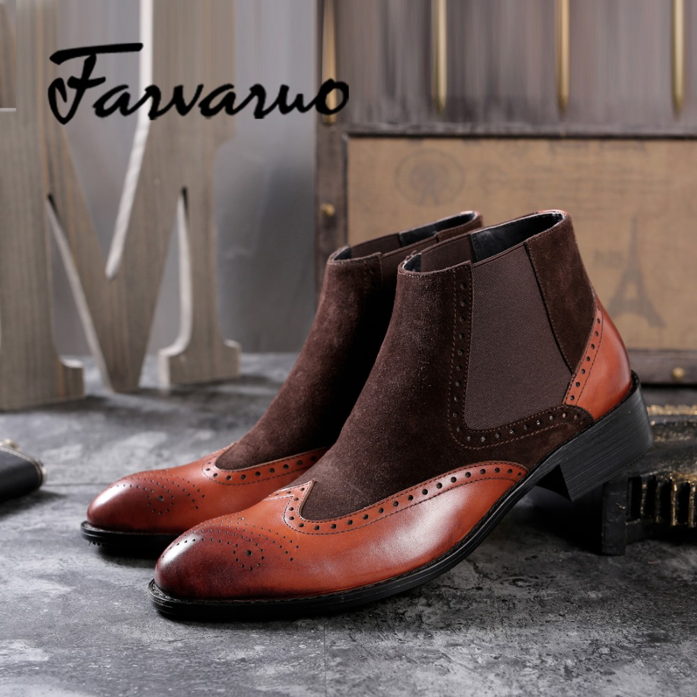 Farvarwo Genuine Leather Winter Ankle Boots Mens Chelsea Dress Boot Men Mixed Suede Flat Round Toe Wing Tip Martin Brogue Shoes