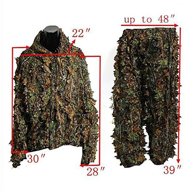 Tactical Hunting Clothes 3D Camo Leaf Ghillie Suits Sniper Airsoft Camouflage 2