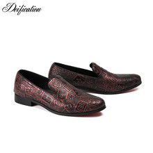 Deification Fashion Mahjong Printed Men Shoes Genuine Leather erkek ayakkabi  Slip On Driving Casual Loafers Mocassins