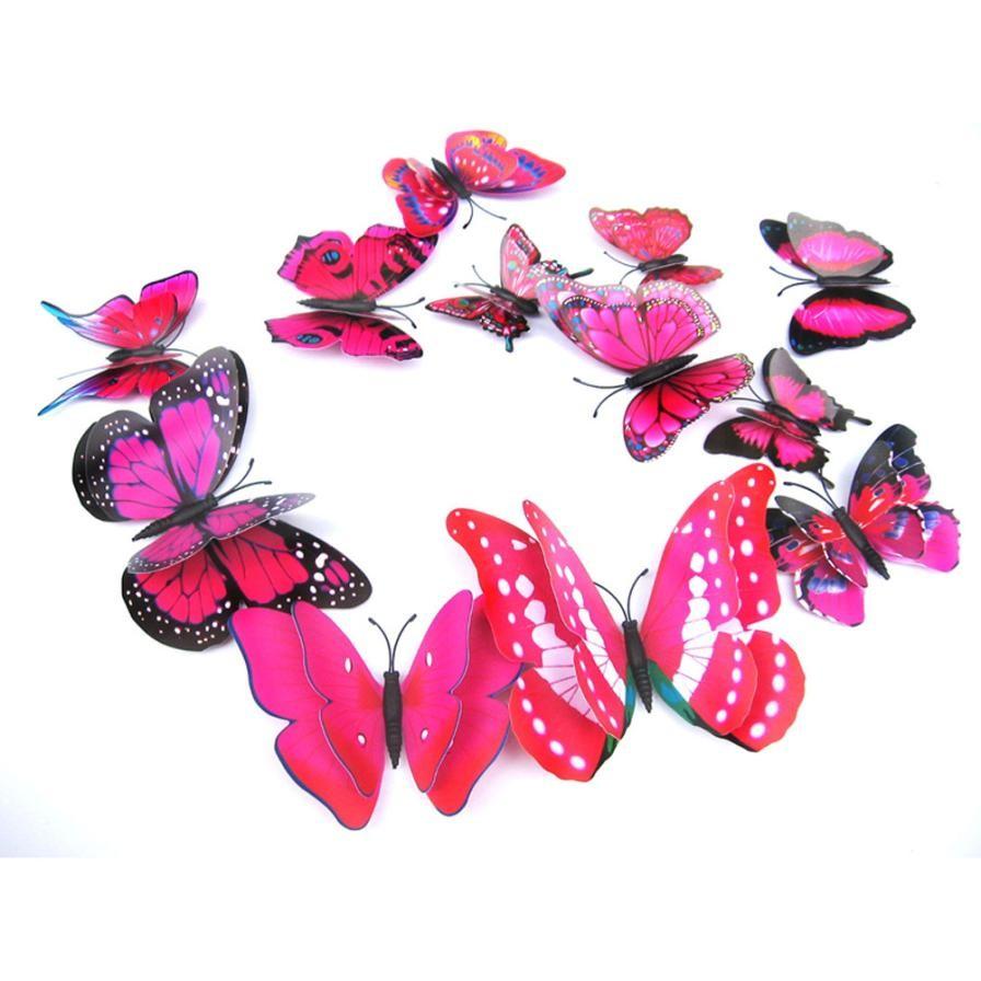 3d Pegatinas 12x 3d Mariposa Etiqueta De La Pared Decoración