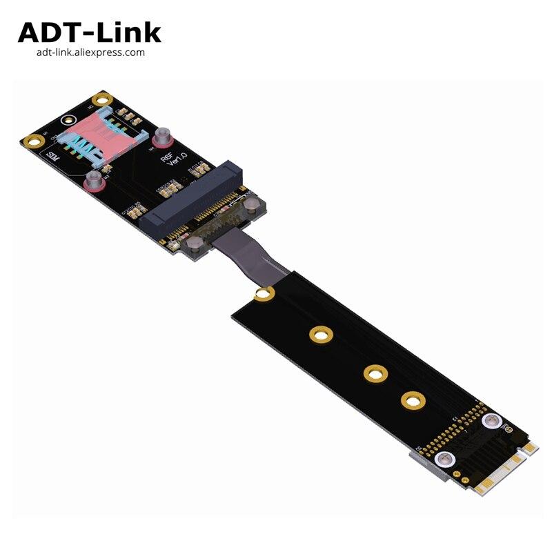 M.2 Key-M M2 Ultra NVMe NGFF SSD vers mini-pcie mPCIe adaptateur d'extension rallonge longueur de câble personnalisation adt-link