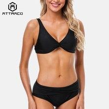 Attraco Women Bikini Set Solid Swimwear Strappy Adjustable Swimsuit Cross From Bathing Suit Padded Beachwear Summer