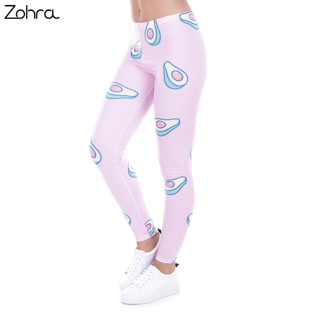 Zohra Brand Fashion Printed Women   Legging   100% Brand New   Leggings   Avocado Pink Leggins Sexy Slim Legins High Waist Women Pants