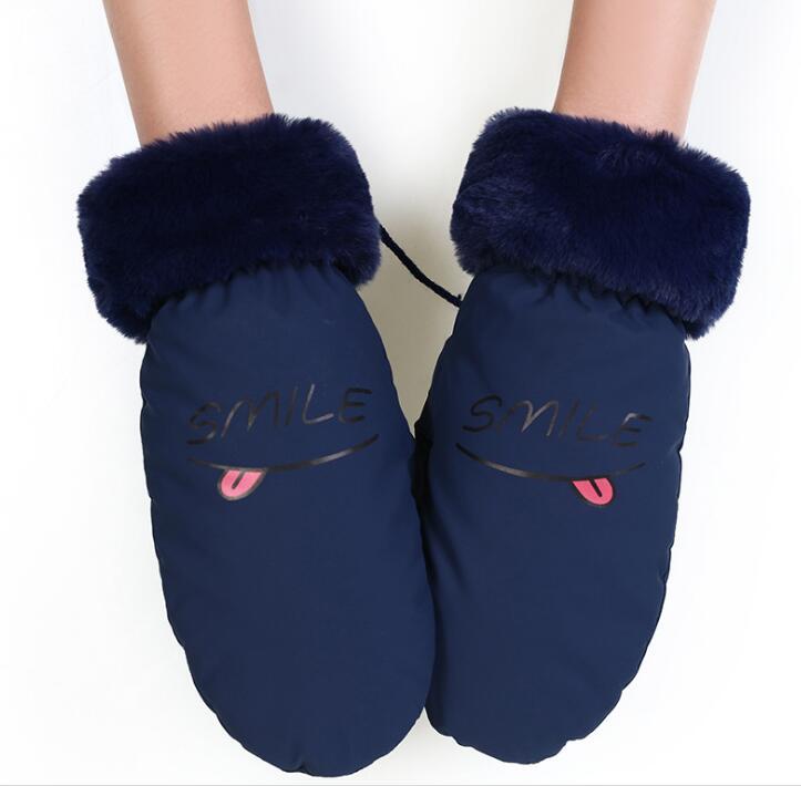 Winter Frauen Verdicken Warme Fleece Futter Fahren Handschuh Brief Drucken Cartoon Skifahren Handschuh R421