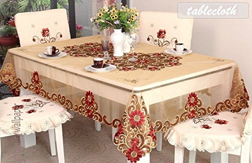 WINLIFE Gold Table Cloth Embroidery Tablecloth European Royal Style Gold Table Overlay